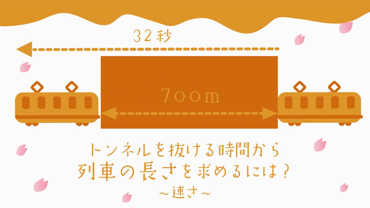 トンネルを抜ける時間から列車に長さを求めるには?