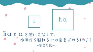 〈中学受験・割合と比〉haとaを使いこなして、水田から取れる米の量を求めるには?